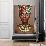 GJQFJBS Art Femme Portrait Africain Belle Fille Impression Photo Affiche Toile A1 30x40 cm