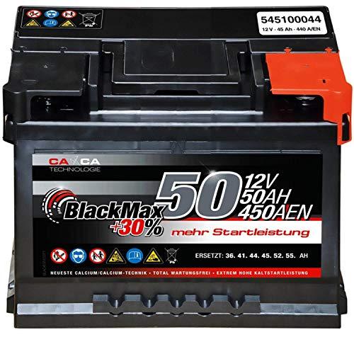Autobatterie 12V 50Ah 450A/EN BlackMax Starter 30{349c0412bce092e0e8f23e7b8db6e8cc38db9f5a390baea4b3ecc3e0d35f2ccb} mehr Leistung ersetzt 36Ah 41Ah 44Ah 45Ah