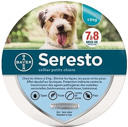 Collar de pulgas y garrapatas Soreste para Perros, Control de pulgas y garrapatas de 8 Meses para Perros de Menos 8kg.
