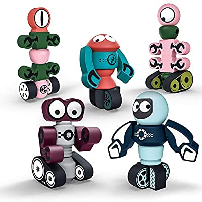Gifts2U Magnetic Robots?35PCS Magnetic Blocks Set for Kids with Storage Box, Stacking Robots Toy STEM Educational Playset for Boys and Girls Ages 3-6 Style A