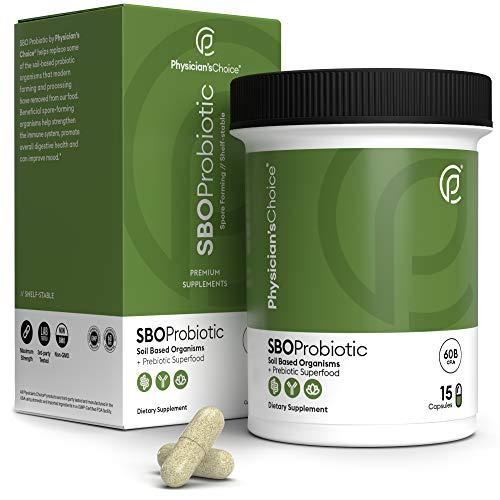SBO Probiotics - 60 Billion CFU Soil Based Probiotic Supplement - Dr Approved Spore Forming Probiotic for Men and Women - Bacillus Probiotic for Digestive Health, Immune Support & Mood - 15 Capsules