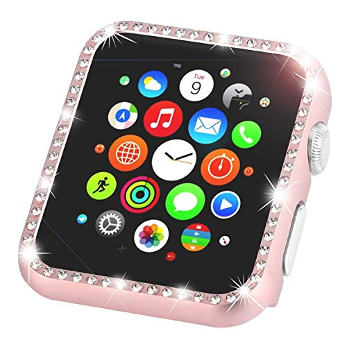 Leotop Compatible with Apple Watch Case Series 3/2/1 42mm 38mm, Metal Bumper Protective Cover Bling Shiny Frame Rhinestone Glitter Diamond Compatible iWatch for Women Girls (42mm, Diamond Rose Gold)