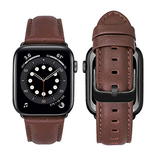 MroTech Strap Replacement for iWatch Bracelet 38mm 40mm Band Genuine Leather Replacement Strap Compatible with iWatch SE Series 6 5 4 3 2 1 Strap with Black Buckle 38/40 mm Nappa Leather Brown