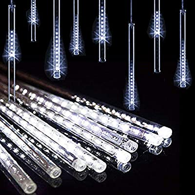 LED Meteor Shower Solar Lights Outdoor,DINOWIN Waterproof Garden Lights 30cm 10 Tubes 360LEDs Falling Lights Raindrop Lights,Holiday Party Wedding Christmas Tree Decoration String Lights (White)