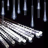 DINOWIN Meteoros Lluvia Luces,360LEDs Tubo de Luces Solar Luces Jardín Impermeable Guirnalda de Luzs,Cadena para Fiesta de Boda de Decoración del árbol de Navidad (Blanco)