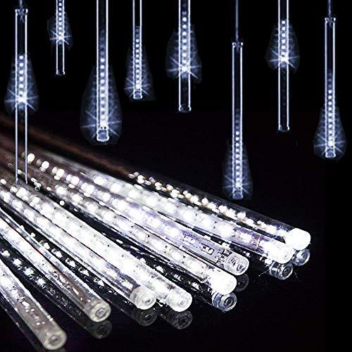 10 Tubes 30CM LED Météore Pluie Lumineuses Guirlandes Solaire,DINOWIN Lumineux Etanche Extérieur Douche Pluie Feux pour Noël Mariage Fête Soirée Maison Arbre Sapin Jardin (Blanc)