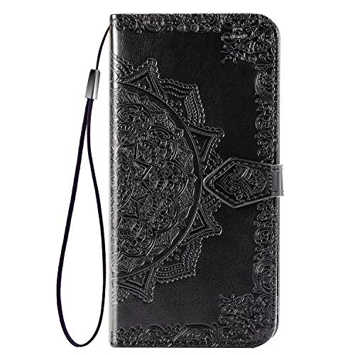 Fertuo Case for Asus Zenfone 7 ZS670KS, Premium Leather Flip Wallet Case with [Card Slots] [Kickstand] [Hand Strap] Mandala Flower Embossed Shockproof Cover Case for Asus Zenfone 7 ZS670KS, Black