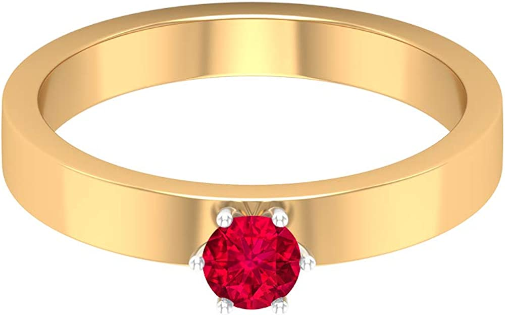 Solitaire Ruby Ring 0.34 CT, Gold Engagement Ring (4 MM Round Shaped Ruby), 14K Yellow Gold, Size:US 8.5