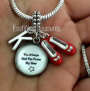 Wizard of Oz Dorothy ruby red slippers Charm bracelets and necklaces-You've always had the power Jewelry gift for women her