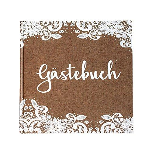 in due Gästebuch Kraft mit weißer Spitze Kraftpapier braun weiß 21 x 21 cm, 144 Seiten weißes Papier