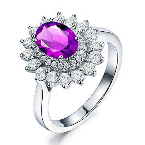 Beydodo Anillos de Plata de Ley Mujer Boda,Anillos de Boda para Mujer Plata Púrpura Flor Oval Cristal Amatista Púrpura Blanca 6x8MM Anillo Talla 20