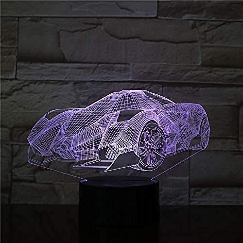 3D Illusion 7 Color Touch Concept Car Fast Car Multi Colorss 7 Colors Sensor Room Decoration Bedroom Lights Led Night Lights for Children Kids Baby
