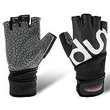 Bwiv Unisex Gewicht Heben Handschuhe Fingerlose Handschuhe mit 51cm Handgelenk Support Gym...