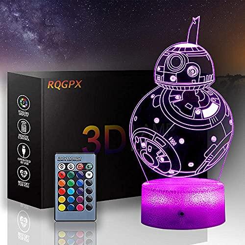 XKUN Used For3D - Luz nocturna de ilusión de Star Wars para bebé, Yoda Darth Vader, regalo de cumpleaños de Navidad para niños y niñas, adultos, decoración de bar de vinos, Bb-8