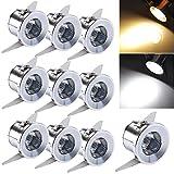 INHDBOX inhd Box Mini LED Foco 10x 1W con Transformador Ranuras Sistema Spot Focos de Techo empotrables Marco de Montaje (Blanco Cálido Redondo) [Clase energética A]