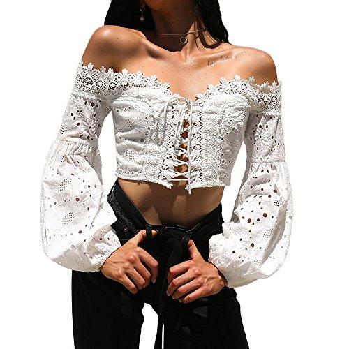 TUDUZ Pullover Tops Damen Elegant Langarm Schulterfrei Hohle Spitze Lose Bluse T-Shirt (Weiß, M)