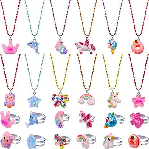 SOTOGO 24 조각 소녀 목걸이 목걸이 및 반지 세트 다채로운 선물 파티 호의 우정 척 어린이 아이들을위한 재생 보석 귀여운 스타일