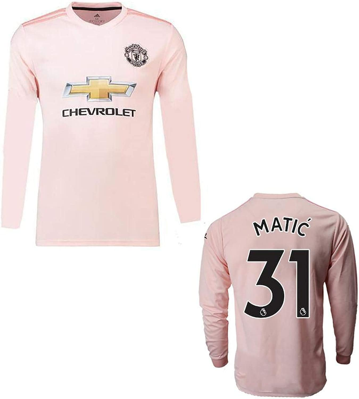 GoFall 2019 Soccer Jersey Men's Long Sleeve Manchester Club Long Sleeve Pink No.31 Matic Replica