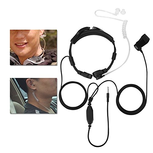 Universal Headset,3.5mm PTT Throat Mic Earpiece Anti Radiation Covert Air Acoustic Tube Headset for Mobile Phone for Samsung