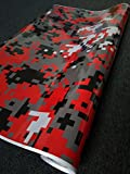 SignSomething Red Digital Camouflage, Vinyl Wrap, Vehicle Wrap for Car, Truck, & Boat (Glossy, 5'x50')