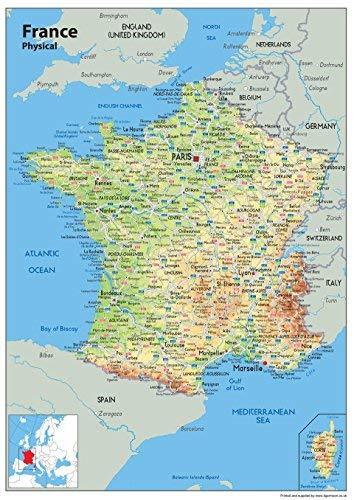 Mapa de pared de Francia A1 – Mapa físico [GA] – no laminado.