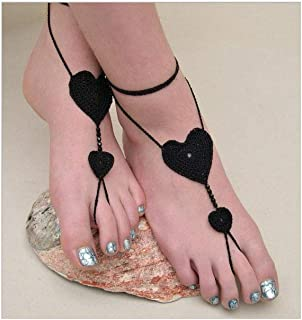 Crochet Barefoot Sandals Nude shoes Foot Jewelry Beach Wedding Sexy Anklet,Heart Beach Footwear