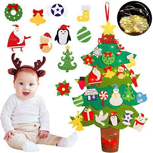 �rbol de Navidad de fieltro colgante, para decorar de Navidad cualquier rincón – 24 pcs LED