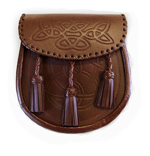The Scotland Kilt Company Brown Leather Embossed Leather Kilt Sporran Knotted Tassels With Sporran Chain