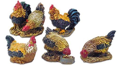 Unbekannt Krippenzubehör Gockel und Hühner 5tlg. Höhe 3,9cm geeignet für 11-13cm Figuren