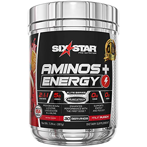 Six Star Aminos Plus Energy, BCAA Powder, Fruit Punch, 30 Servings, Natural color