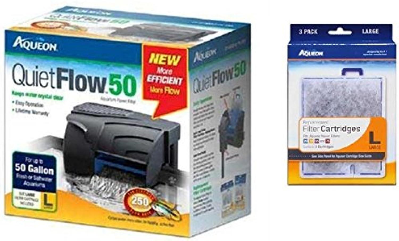 Aqueon QuietFlow 50 Power Filter 250GPH, Plus 3Replacement Filter Cartridges