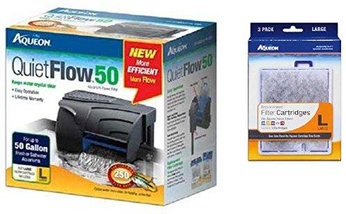 Aqueon QuietFlow 50 Power Filter 250GPH, Plus 3-Replacement Filter Cartridges