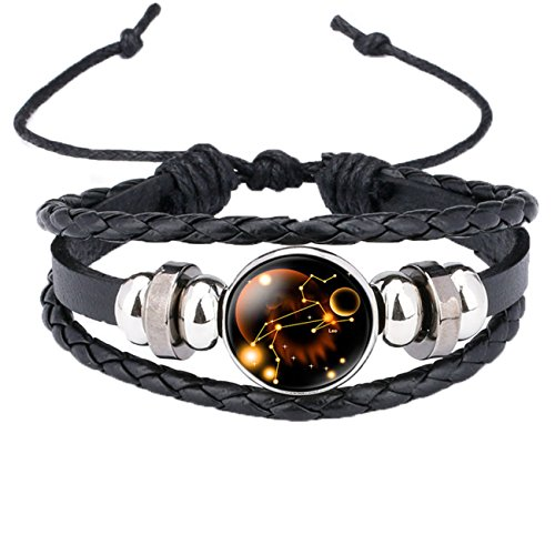 Caimeytie Braided Bracelet Adjustable Constellation Signs of Zodiac Clear Glass Charm Time Gems Serie-Leo