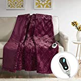 Beautyrest Brushed Long Fur Electric Throw Blanket Ogee Pattern Warm and Soft Heated Wrap with Auto Shutoff-5 Year Warranty, 50x60, Burgundy