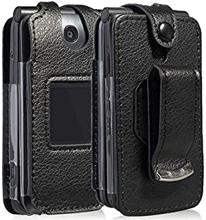 Go Flip Phone Case, Nakedcellphone [Black Vegan Leather] Form-Fit Cover with [Built-in Screen Protection] and [Metal Belt ...