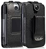 Go Flip Phone Case, Nakedcellphone [Black Vegan Leather] Form-Fit Cover with [Built-in Screen Protection] and [Metal Belt Clip] for Alcatel Go Flip V, MyFlip 4G, QuickFlip, AT&T Cingular Flip 2