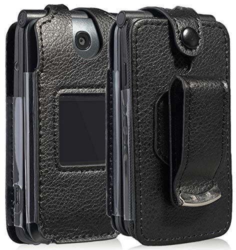 Case for Go Flip Phone, Nakedcellphone [Black Vegan Leather] Form-Fit Cover with [Built-in Screen Protection] and [Metal Belt Clip] for Alcatel Go Flip V, MyFlip 4G, QuickFlip, AT&T Cingular Flip 2