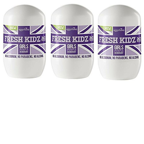 Keep it Kind Fresh Kidz Natural Roll On Deodorant 24 Hour Protection - Girls'Purple' 1.86 fl.oz. (3 Pack)