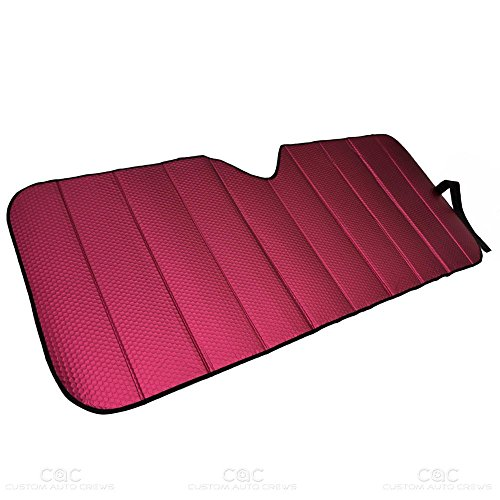 Motor Trend Front Windshield Sun Shade - Accordion Folding Auto Sunshade for Car Truck SUV - Blocks UV Rays Sun Visor Protector - Keeps Your Vehicle Cool - 58 x 24 Inch (Red)