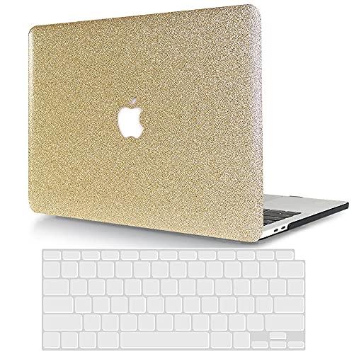 ACJYX Funda Rígida para MacBook Pro 13 Pulgadas con CD-ROM (Modelo A1278, Versión 2012 2011 2010 2009 2008),PU Cuero Carcasa con Cubierta de Teclado,Oro Brillante