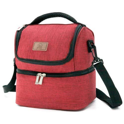 Decocasa Térmica Porta Alimentos, Bolsa Isotérmica Con Dos Compartimentos Para Almuerzo Comida, 6 Litros, Rojo, 6L