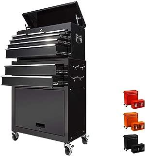 8 Drawer Rolling Tool Box,Large Capacity Tool Chest With 4 Wheels,Detachable Tool Storage Cabinet,Key Drawer,Sliding Metal Tool Organizer,Black
