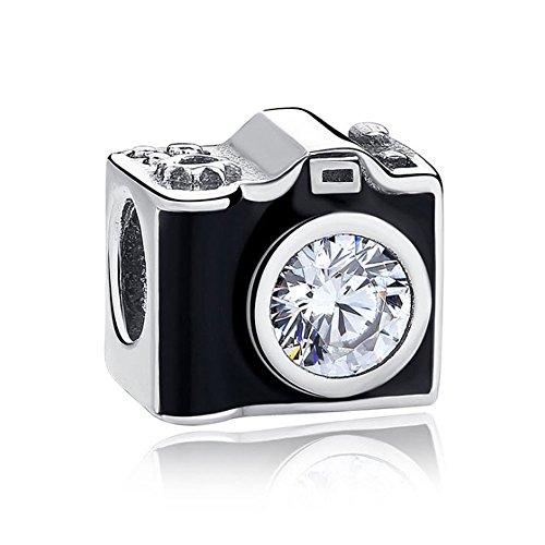 Romántico Amor Abalorio para cámara de fotos sentimental, color negro, plateado, compatible con pulseras Pandora
