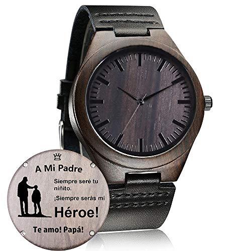 Relojes de Madera Personalizado, Moda Casual Clásico Hecho a Mano de Madera Reloje Regalo (B-a Mi Padre)