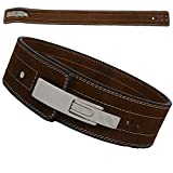 AKS - Cintura da palestra per sollevamento pesi, in pelle, per allenamento e sollevamento pesi, con fibbia a leva, supporto lombare da 10 mm di spessore (marrone, medio 76,2-91,4 cm)