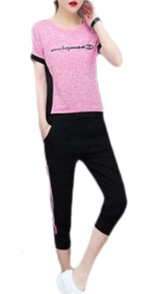 ライセンス港廃棄する女性2ピース衣装カジュアル半袖Tシャツトップカプリパンツセットトラックスーツ
