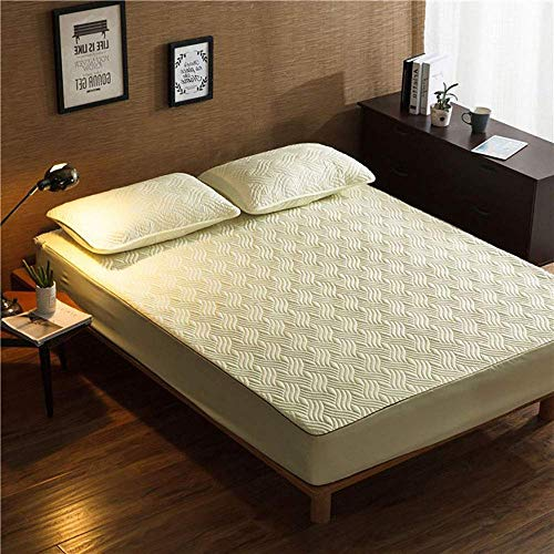 MRTYU-UY Protectores de colchón Impermeable Doble, Protector de colchón Gris, Tejido de algodón Esponjoso