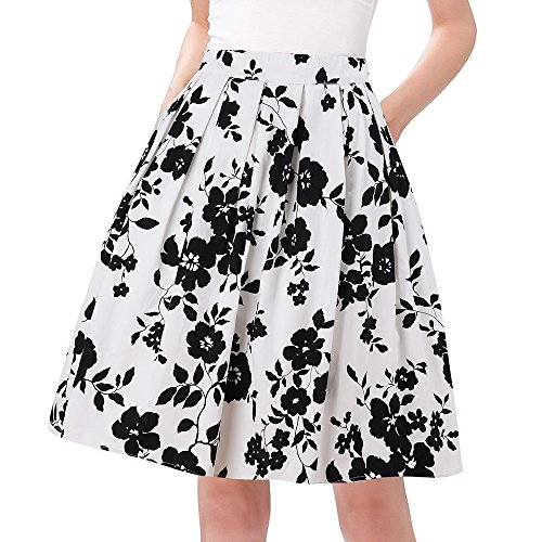 Taydey Women's High Waisted A line Street Skirt Skater Pleated Full Midi Skirt 3XL White Rose