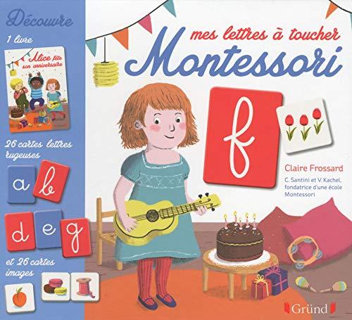 Mes lettres à toucher Montessori – Coffret avec 26 cartes lettres rugueuses et 26 cartes images – À partir de 2 ans