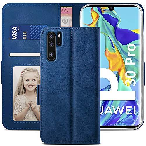 YATWIN Funda Huawei P30 Pro, Cuero Premium Flip Folio Carcasa Fnuda P30 Pro, Bloqueo RFID, Soporte Plegable, Ranura para Tarjeta, Cierre Magnético, Compatible para Funda Huawei P30 Pro, Azul